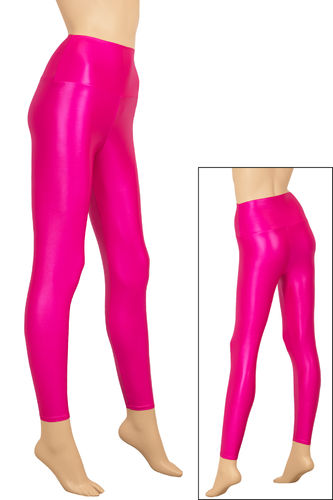 Damen Wetlook High-Waist Leggings