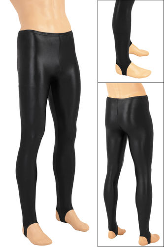 Herren Wetlook Leggings mit Steg