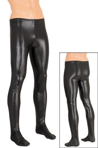 Herren Wetlook Leggings mit Fuß