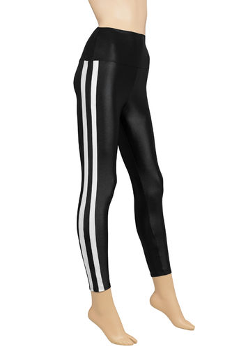 Damen Wetlook High-Waist Leggings mit Seitenstreifen