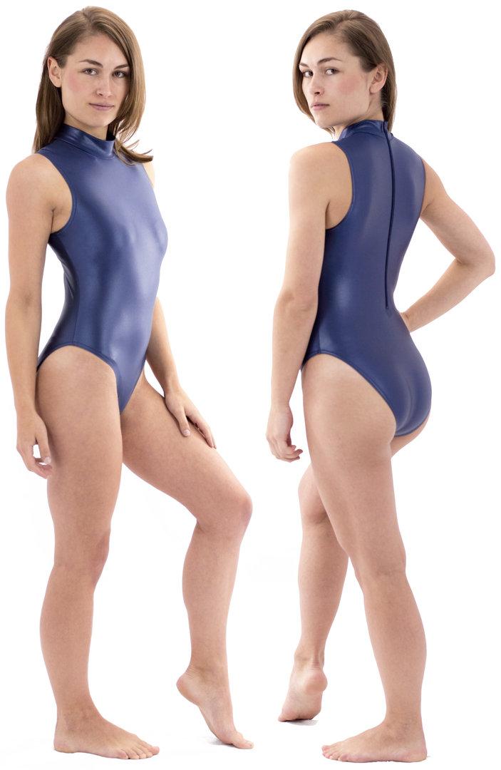 ML-Sport24 Damen Body ohne /Ärmel Kragen R/ücken-RV Leotard Stretch Shiny Material 80/% Polyamid 20/% Elasthan