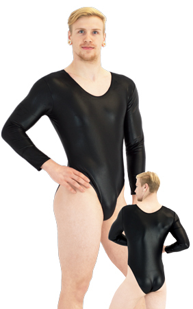 ML-Sport24-Herren-Body-lange-Aermel-Wetlook-Schwarz-Front